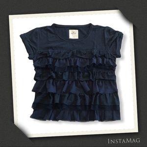 HOLLISTER Navy Blue Textured Ruffle Layer Soft Top